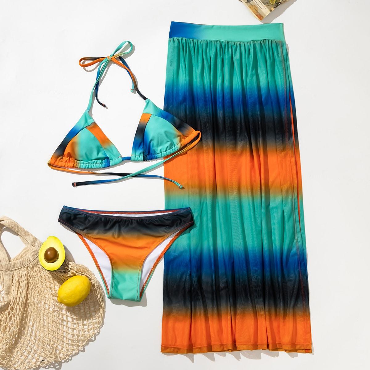 SHEIN / 3pack Colorblock Halter Bikini Swimsuit & Beach Skirt