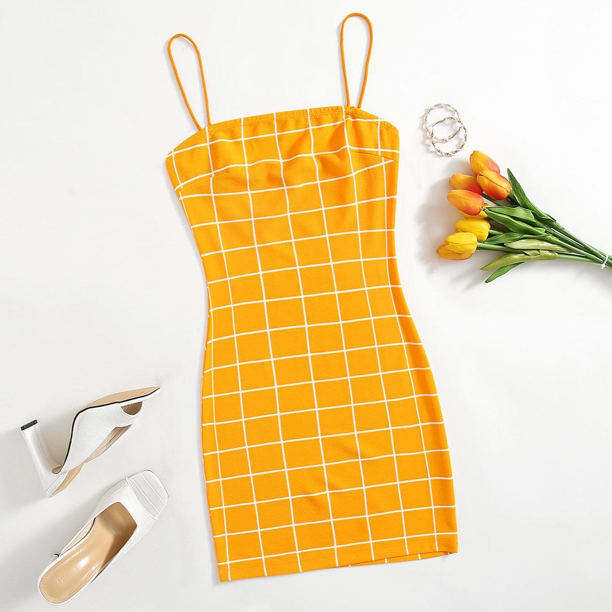 Облегающее Платье На Бретельках В Клетку