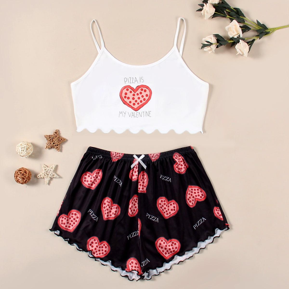 SHEIN / Heart Print Lettuce Trim Pajama Set