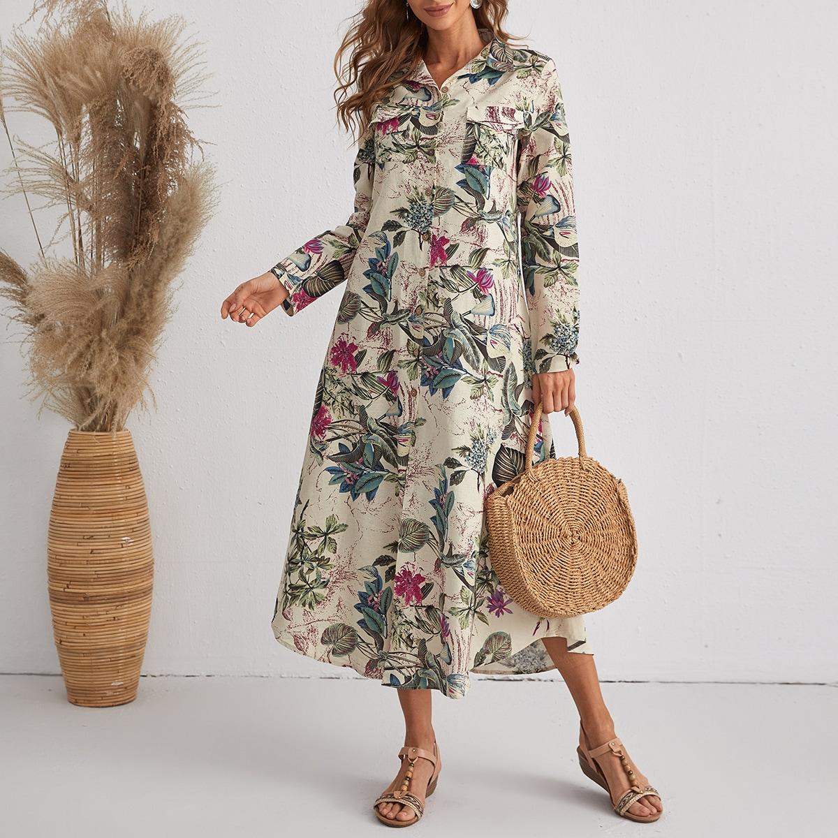 Vestido camisero con botón floral