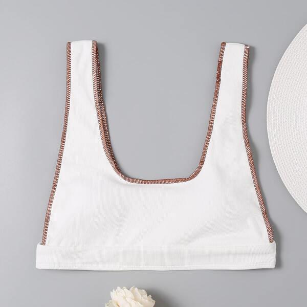 Rib Contrast Binding Bikini Top, White