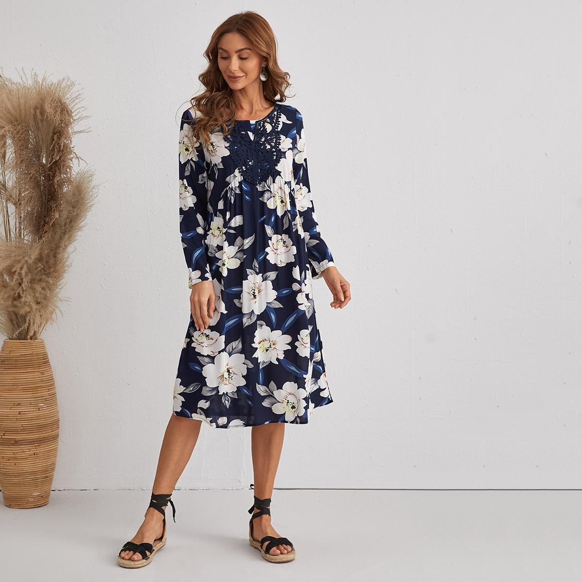 Контрастные кружева Цветочный принт Бохо Платье