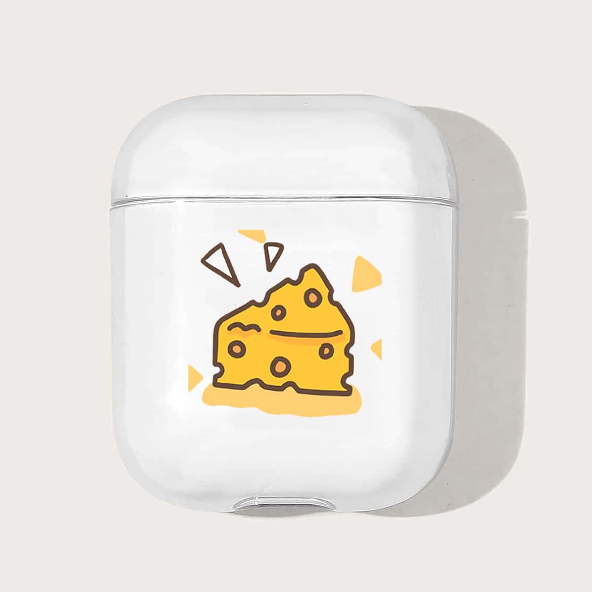 Прозрачный чехол для Airpods с рисунком сыра