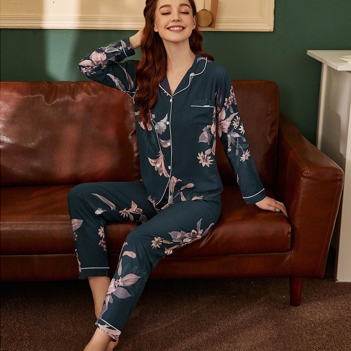 с карманами Цветочный принт Повседневный Пижама