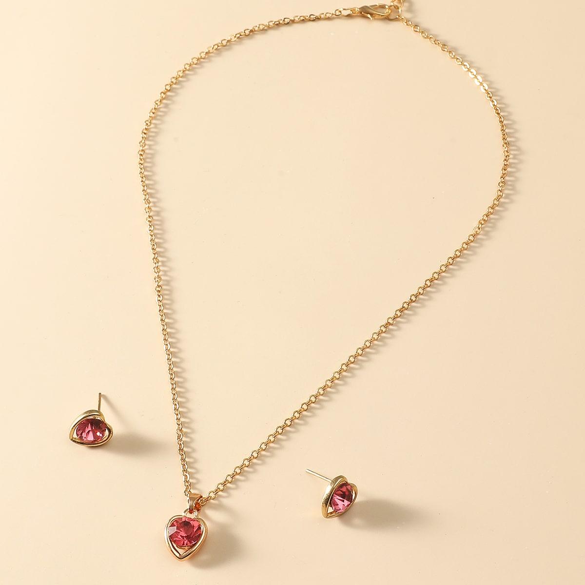 Halskette mit Herz Anhänger & Ohrringe