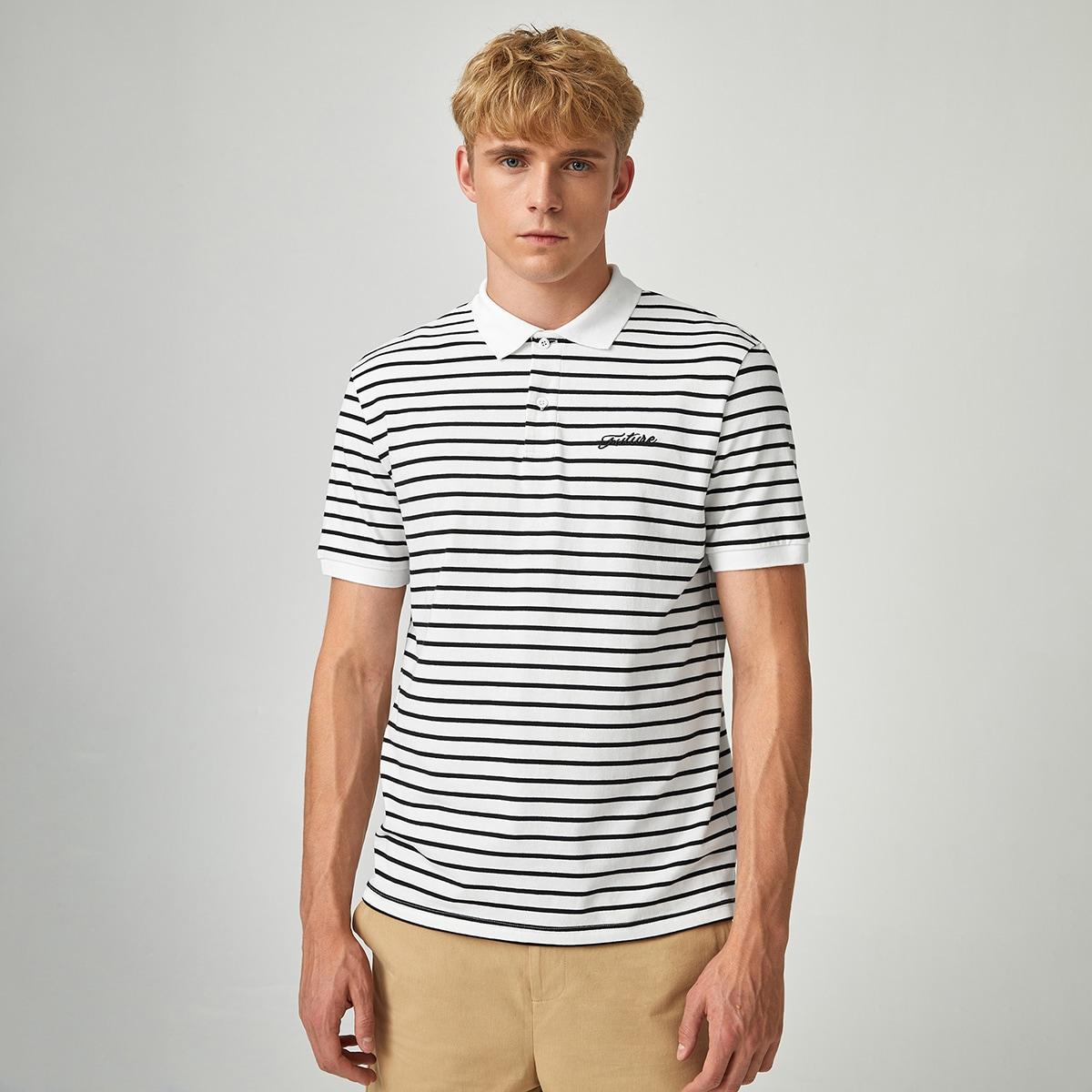 Вышивка Полосатый Повседневный Мужская рубашка-поло по цене 637