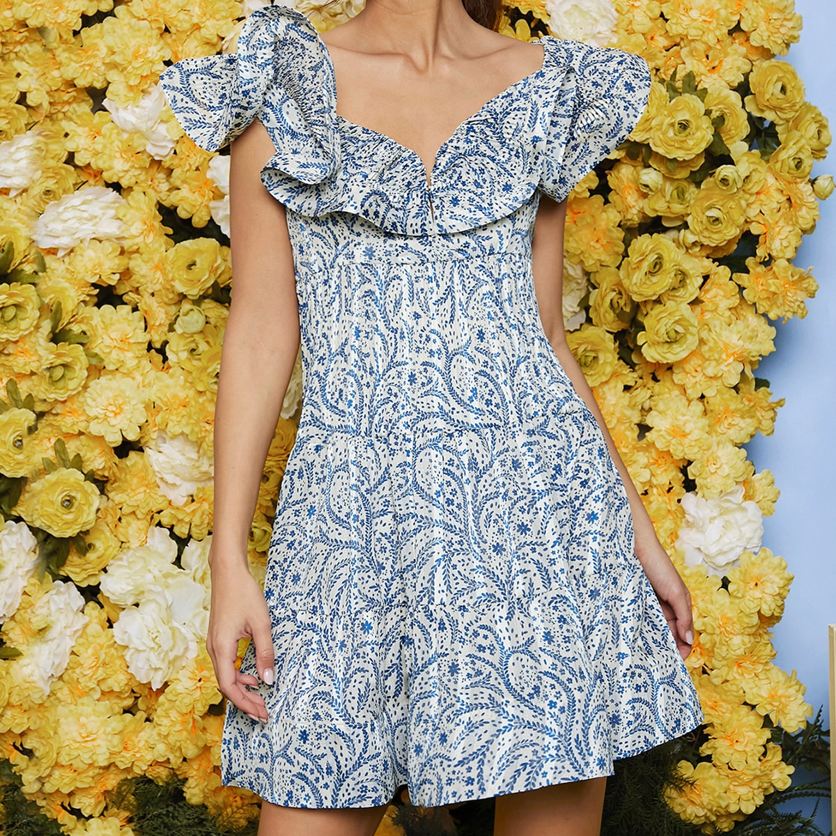 с оборками цветочный Бохо Платье по цене 1 220
