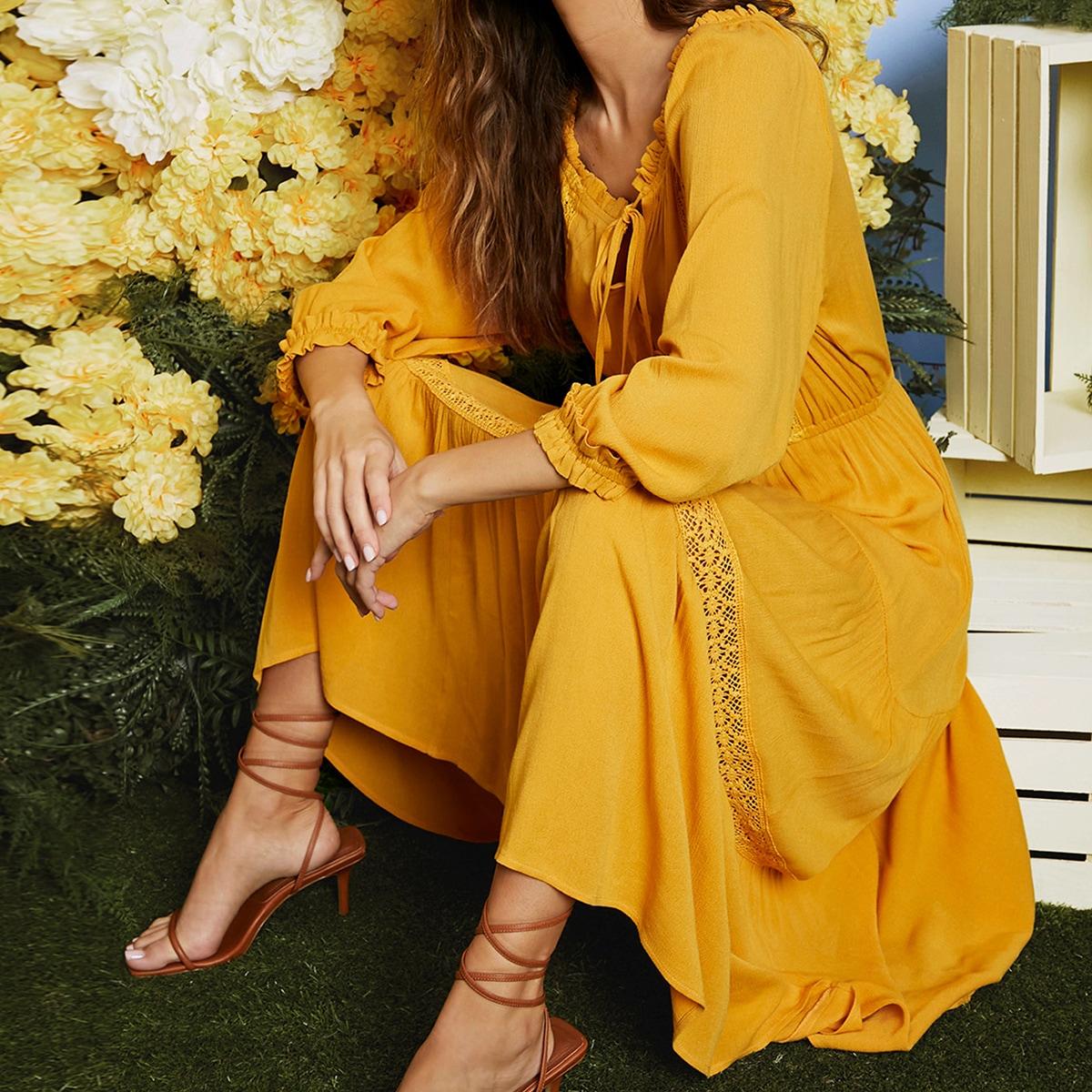 Контрастные кружева Одноцветный Бохо Платье