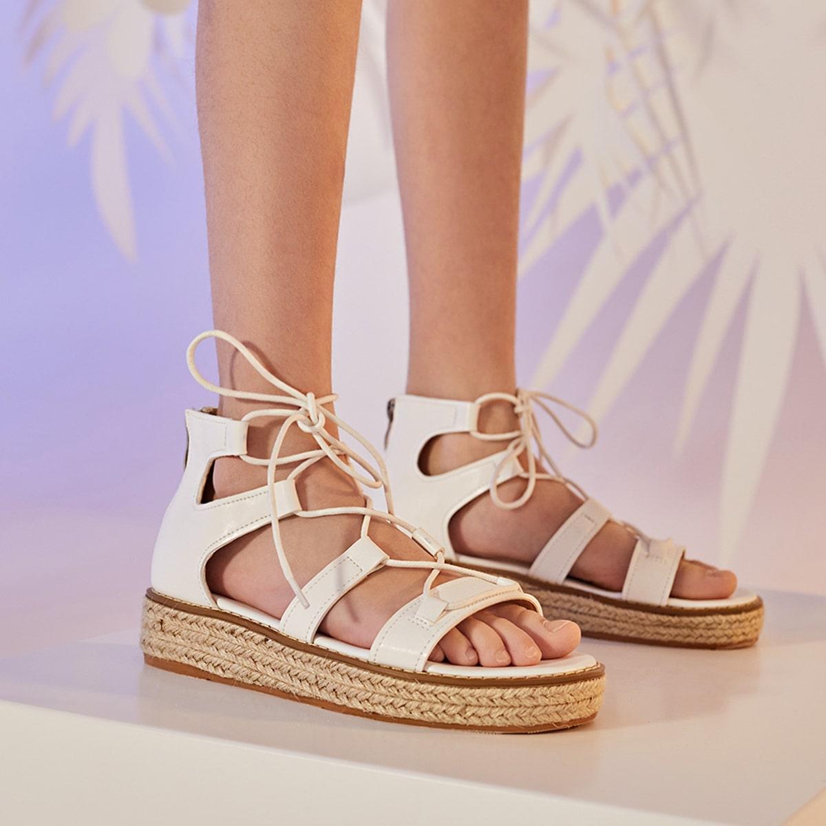 Туфли с джутовой подошвой на шнурках для девочек от SHEIN