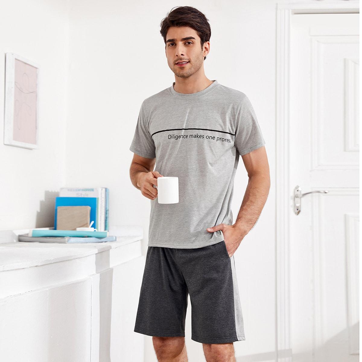 Мужская пижама с текстовым принтом по цене 1 160