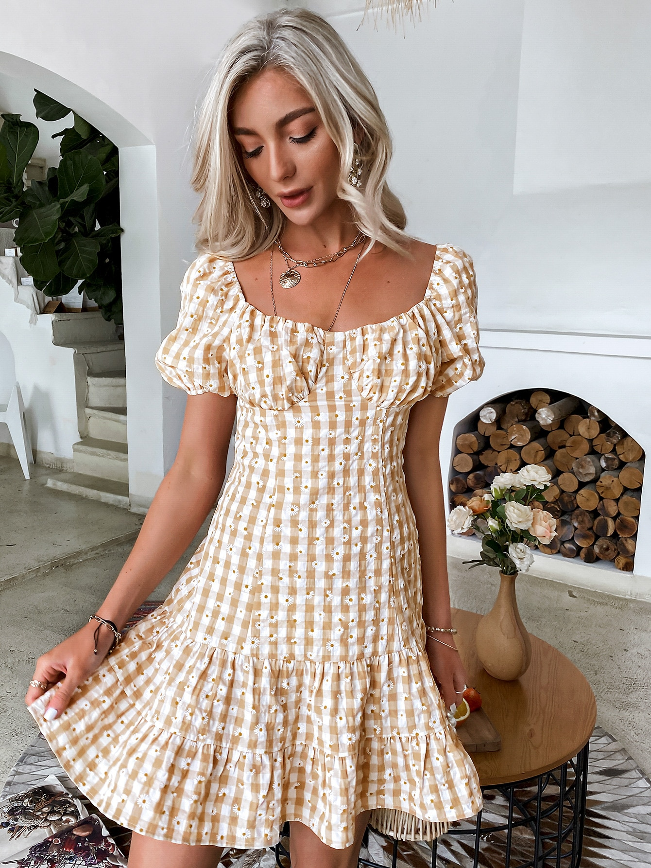 puff sleeve ruched bust ruffle hem gingham & floral dress