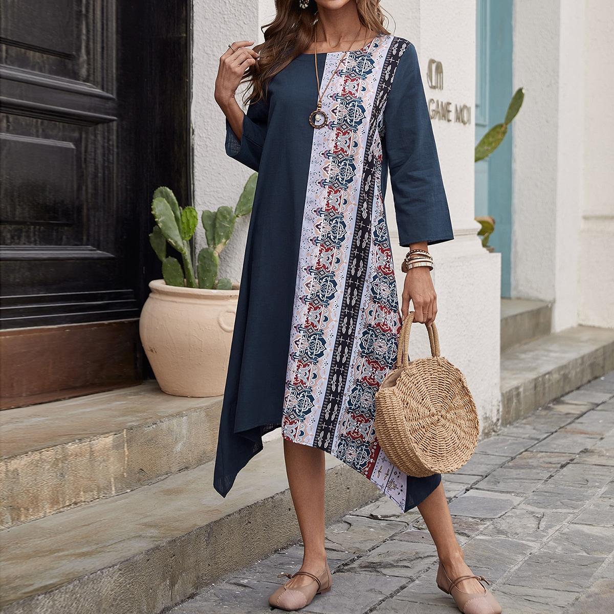 Асимметричное платье с принтом пейсли