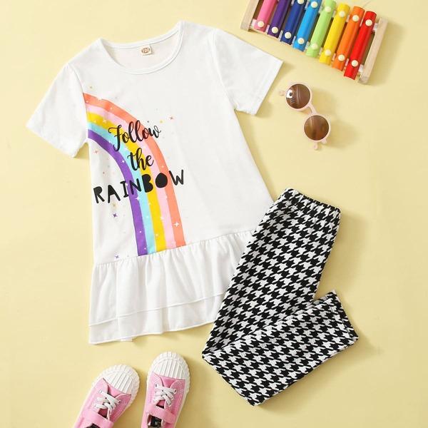 Toddler Girls Slogan Graphic Ruffle Hem Tee & Houndstooth Leggings, Black and white