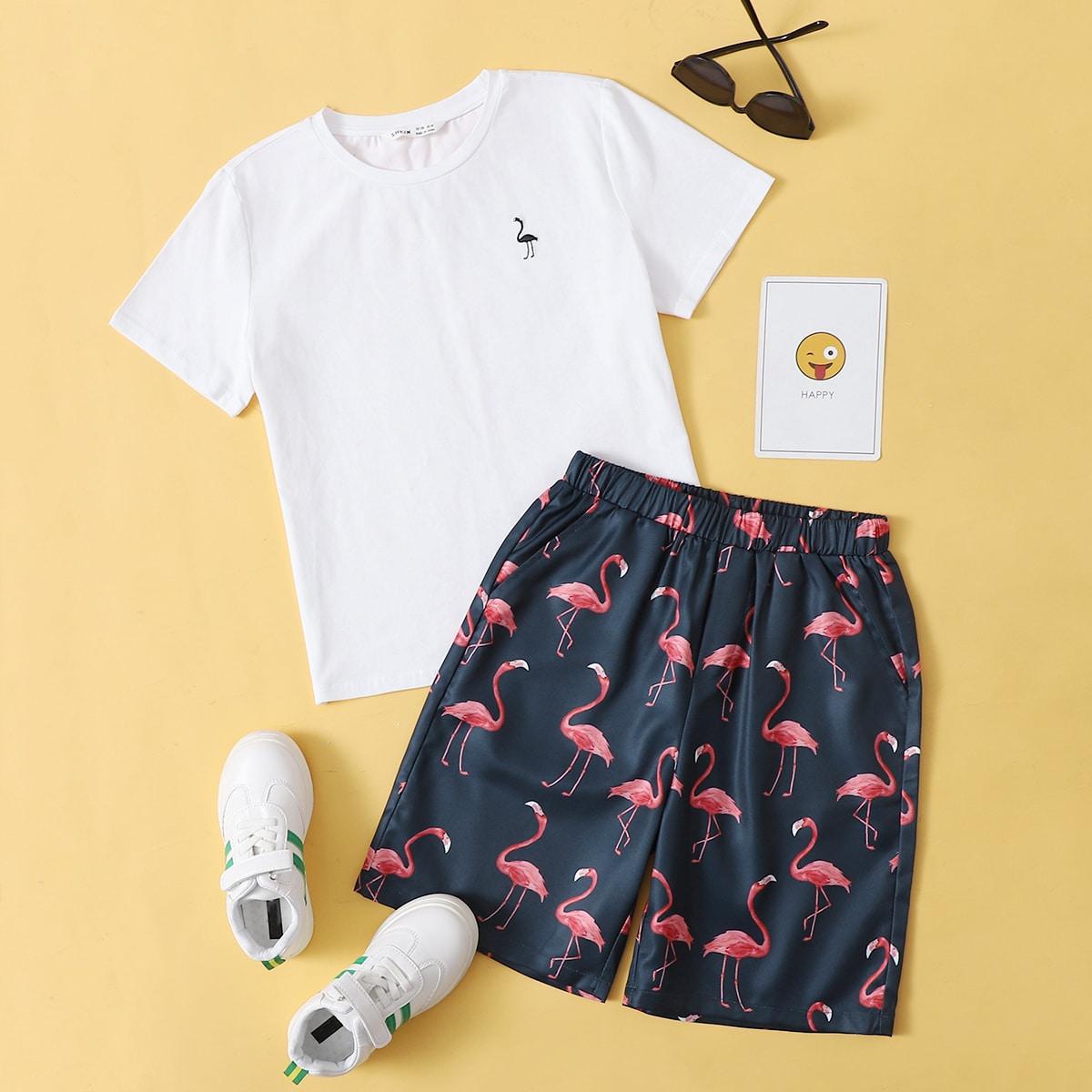 T-Shirt mit Flamingo Muster & Shorts Set