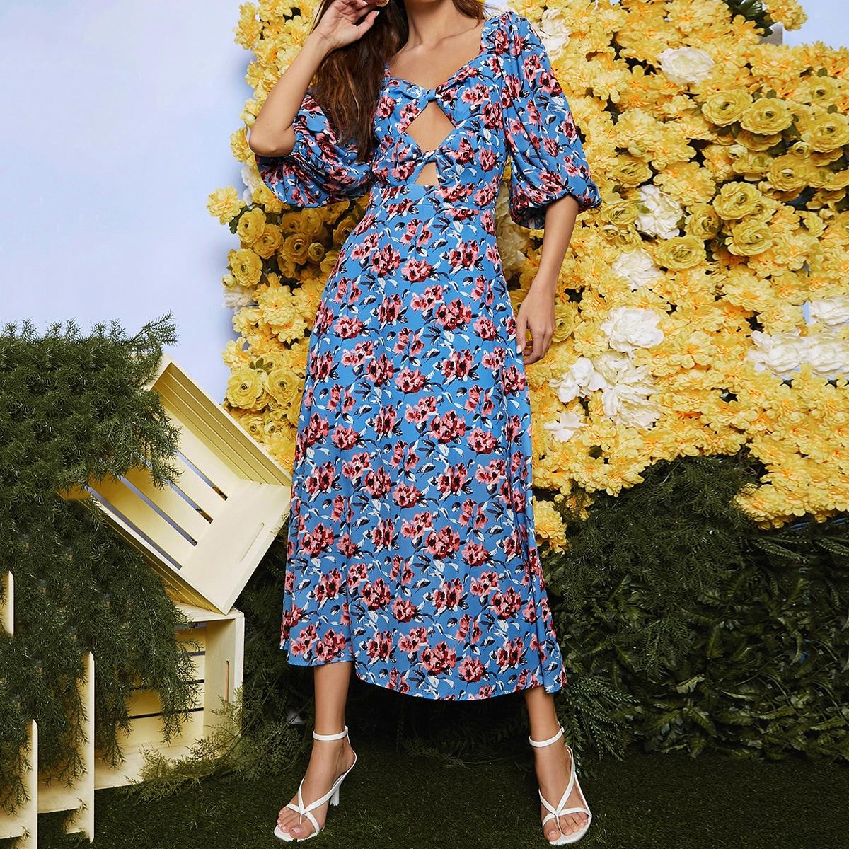 Платье с драпировкой и цветочным принтом по цене 990