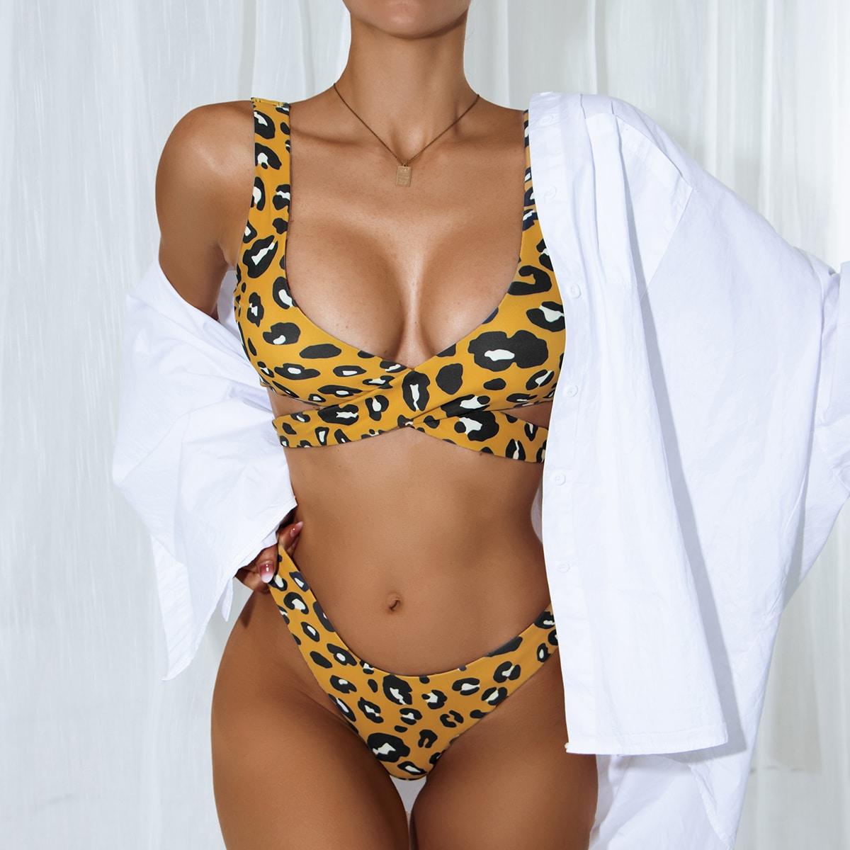 Leopard Wrap Decor Bikini Swimsuit, SHEIN  - buy with discount
