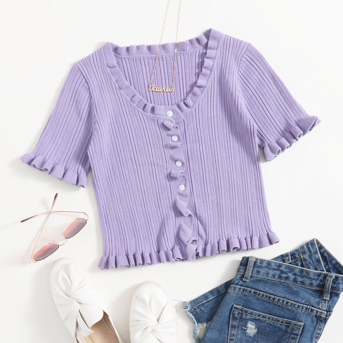 Frill Trim Button Front Knit Top