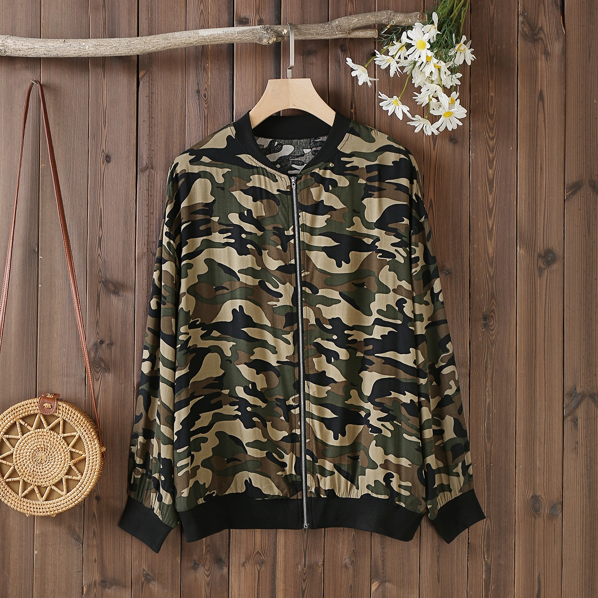 SHEIN Casual Camouflage Grote maat: jas Rits