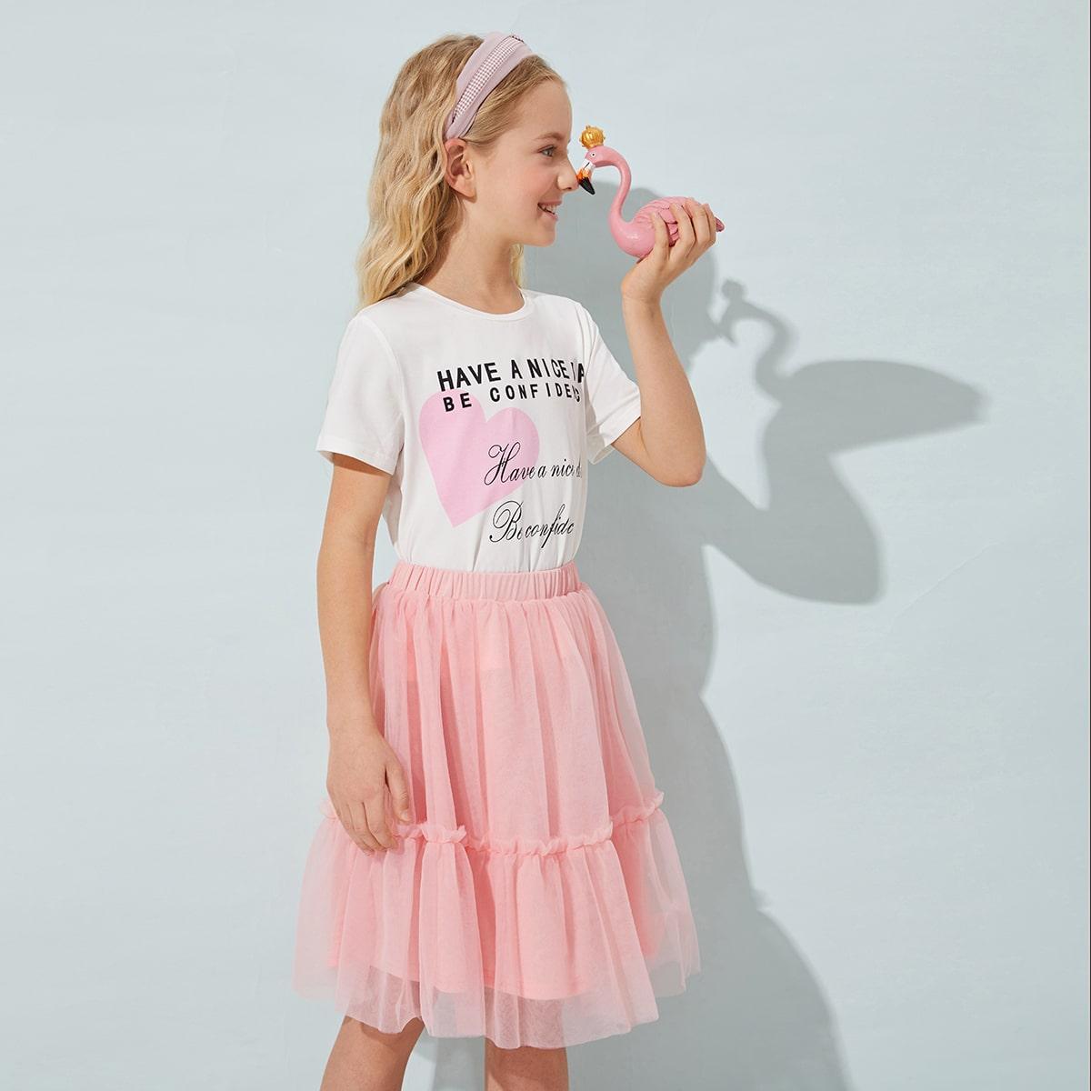Сетчатая юбка и футболка с текстовым принтом для девочек по цене 1 070
