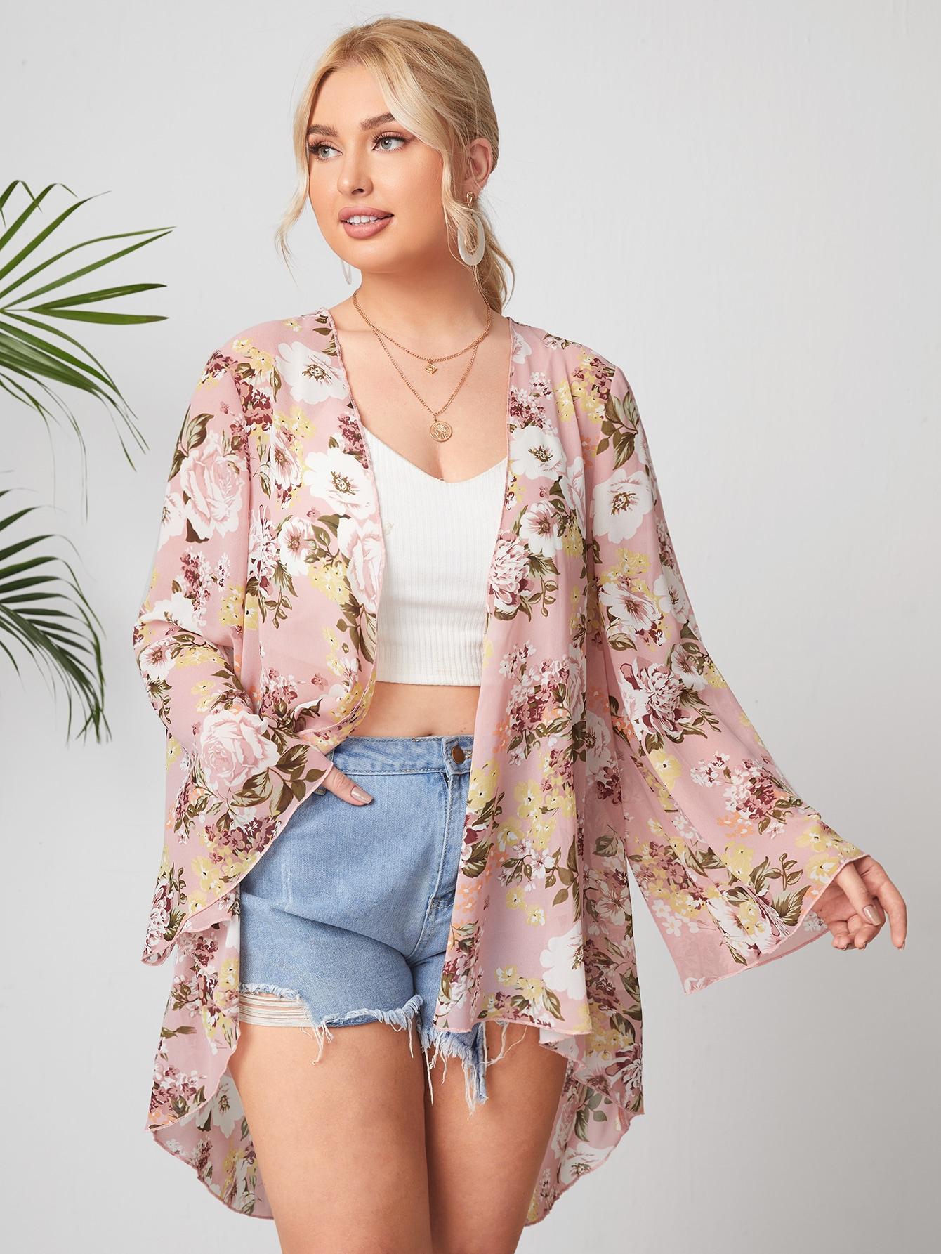 Plus Floral Print Sheer Kimono