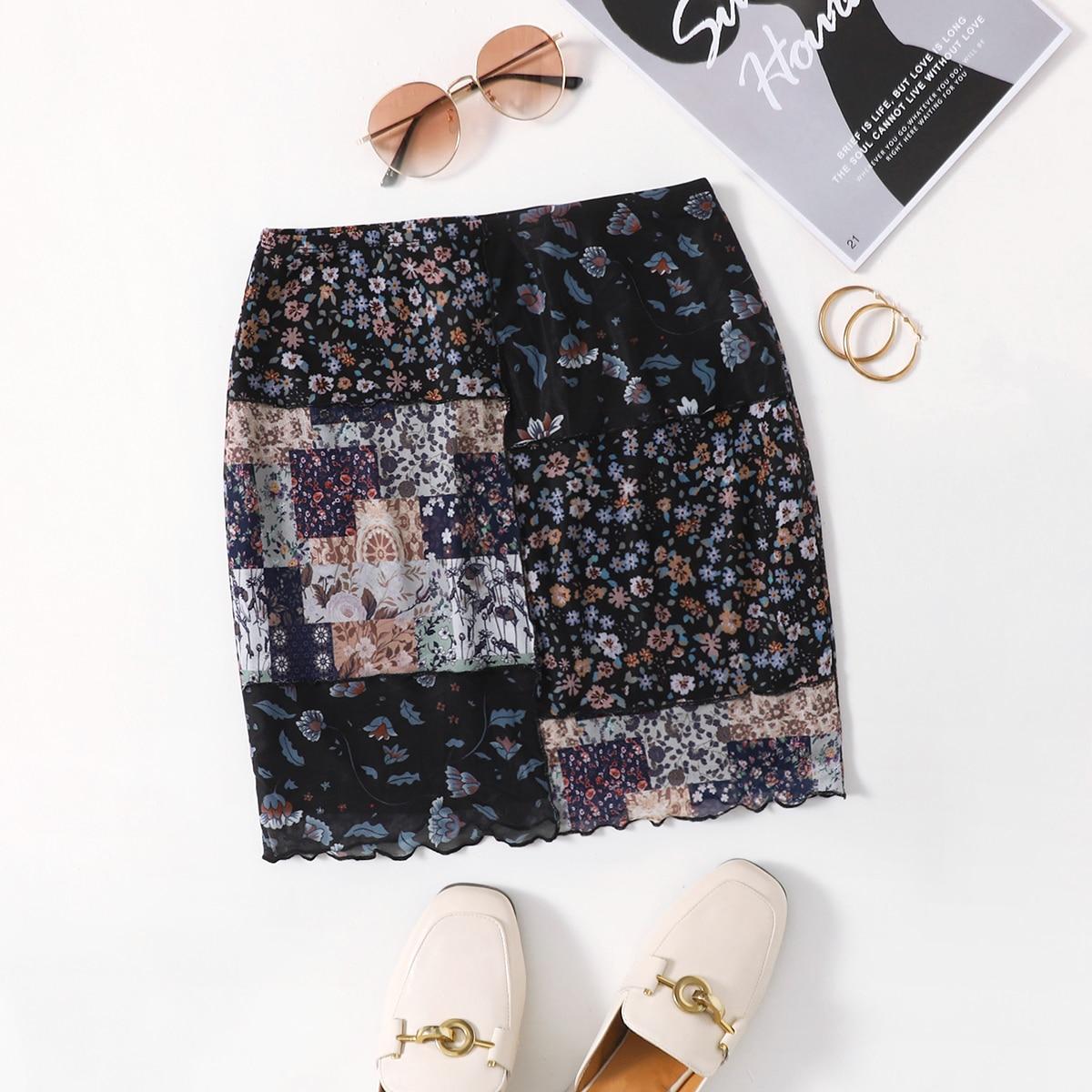 Сетчатая юбка с волнистым краем и принтом пэчворк