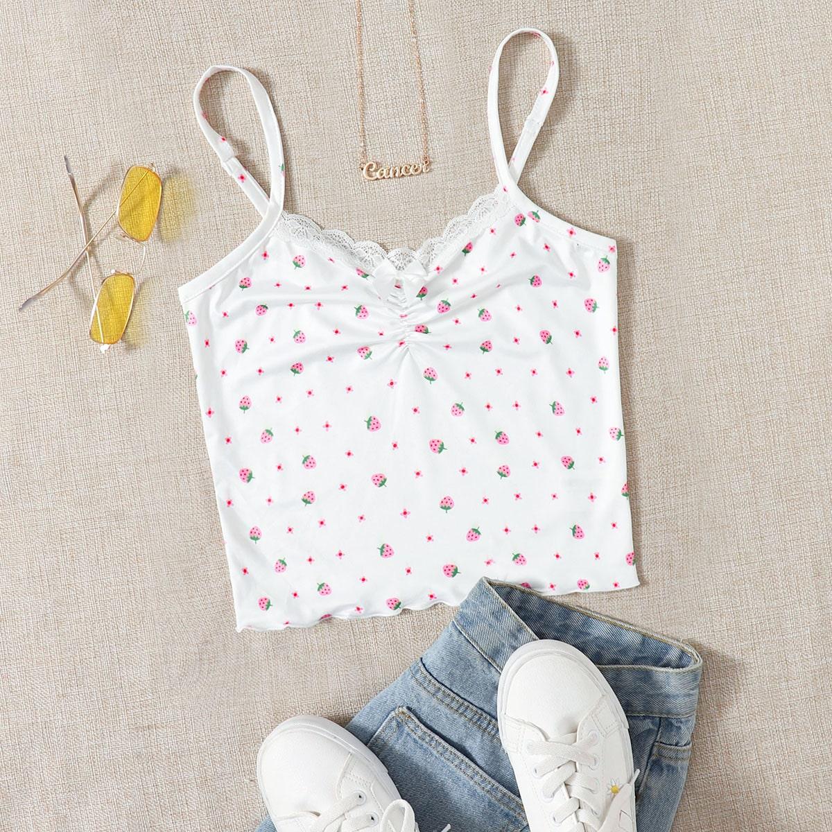 Cami Top mit Schleife vorne, Spitzenbesatz und Erdbeere Muster