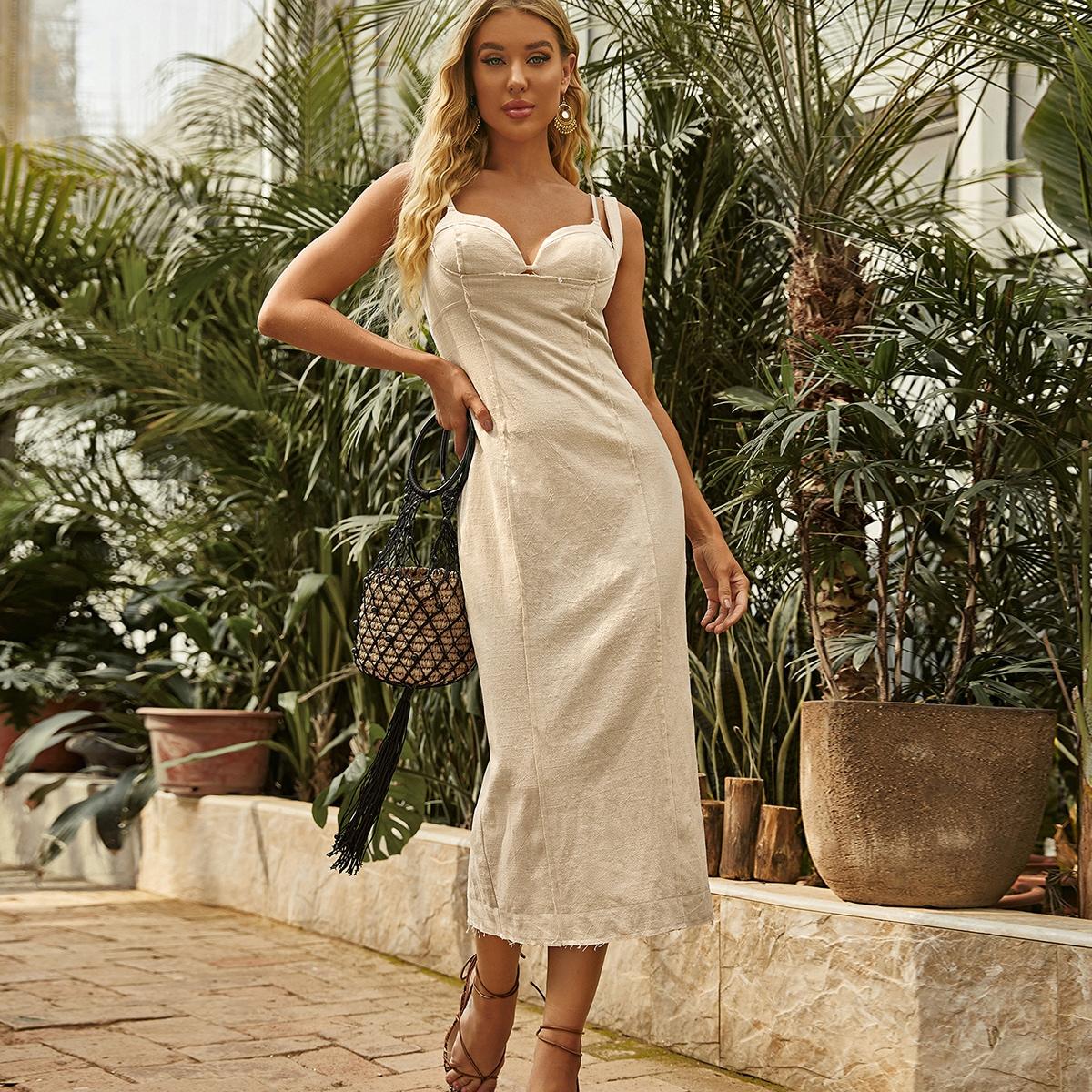 SHEIN / Solid Bustier Split Hem Dress