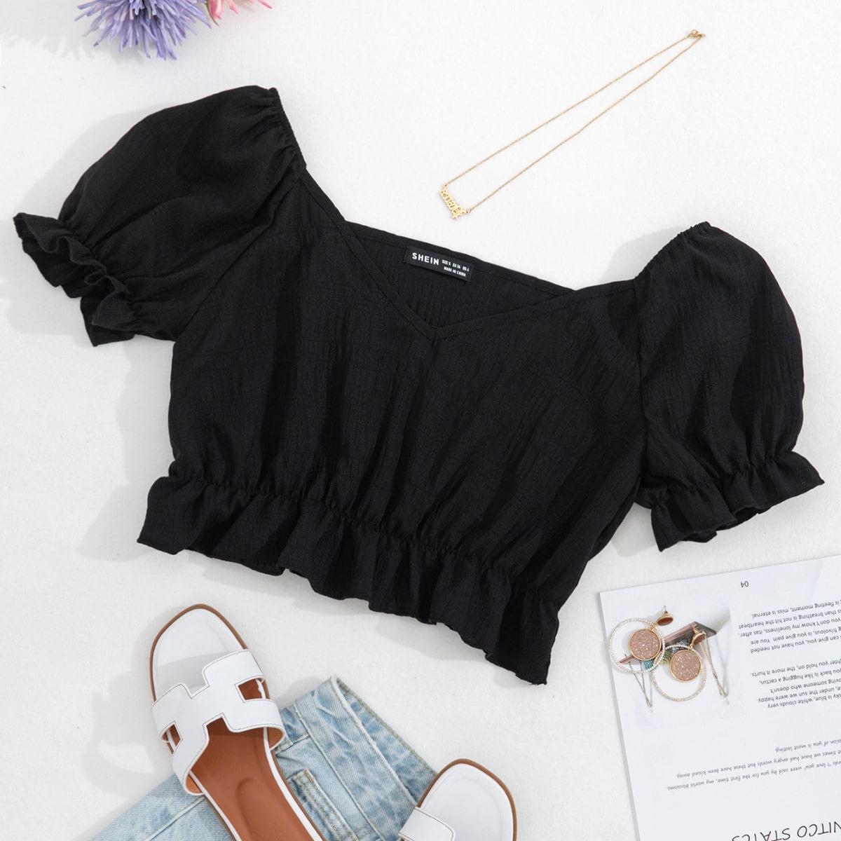 С оборками Одноцветный Повседневный Блузы по цене 480