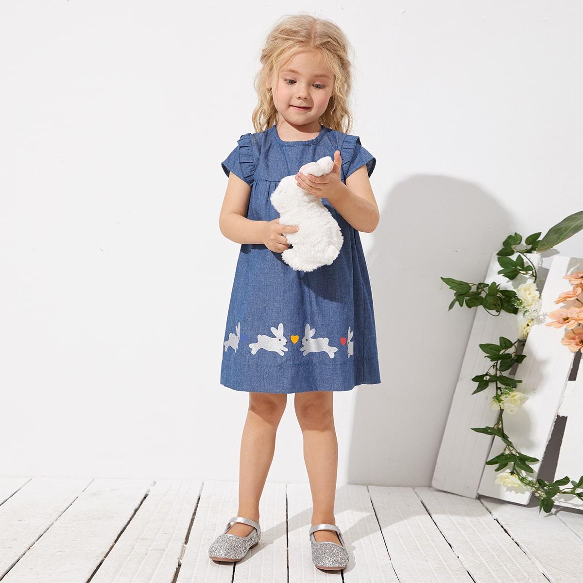 для девочек Платье с принтом кролика с оборкой джинсовый SheIn skdress03210127068
