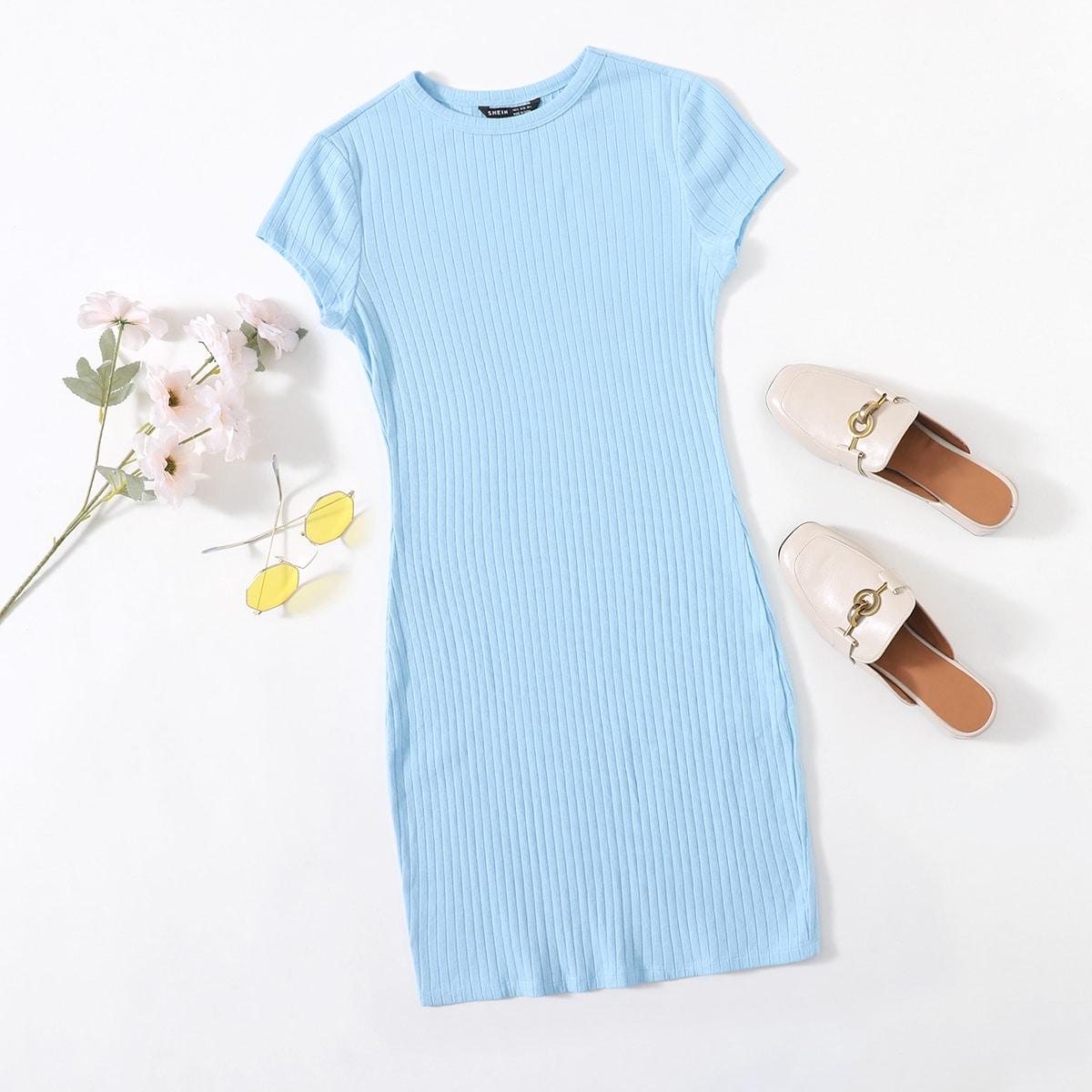 Вязаное платье в рубчик SheIn swdress07210122576