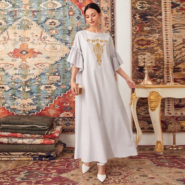 Flounce Sleeve Embroidery Floral Tent Dress, Light grey