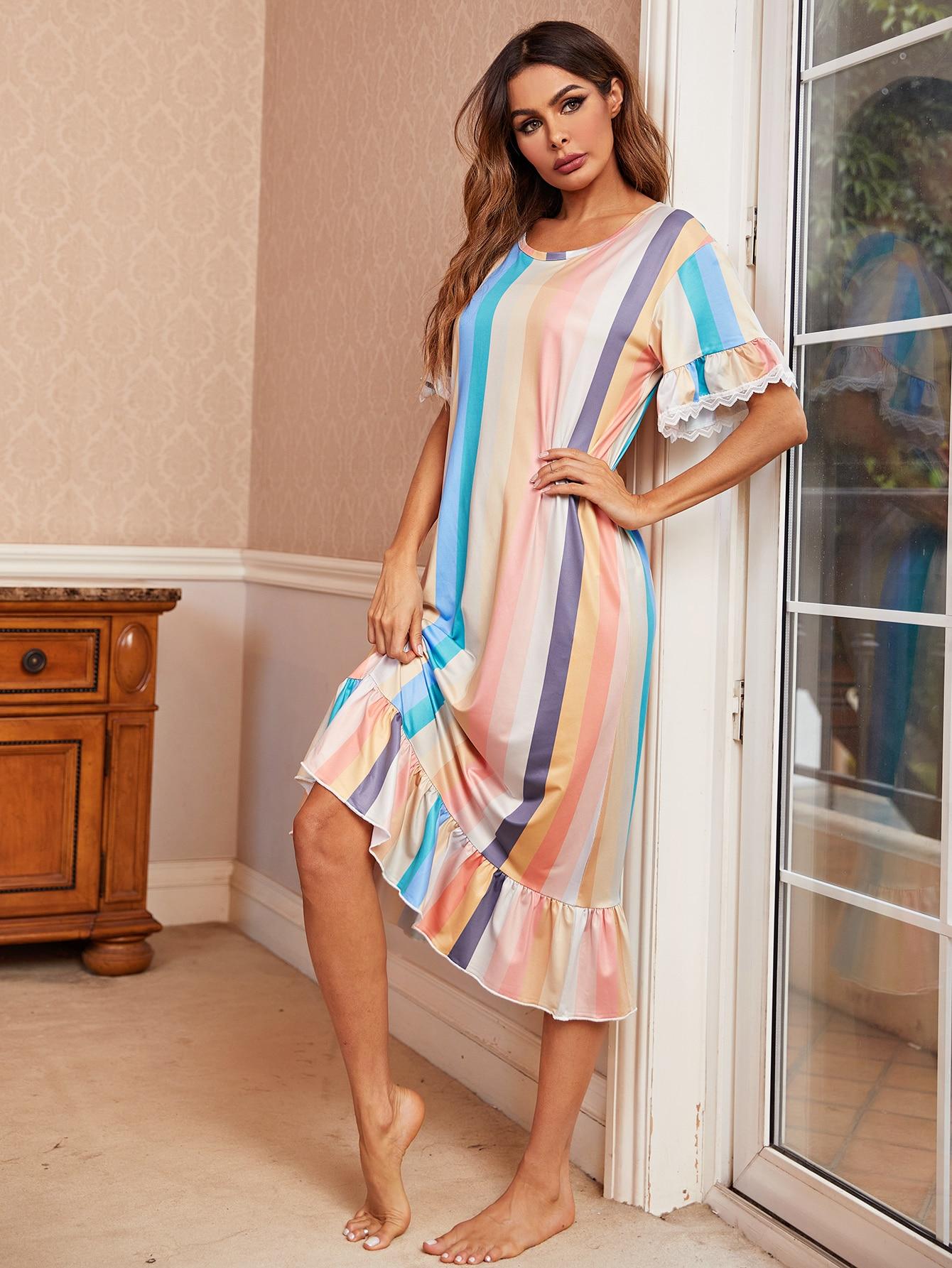 colorblock striped print ruffle hem night dress