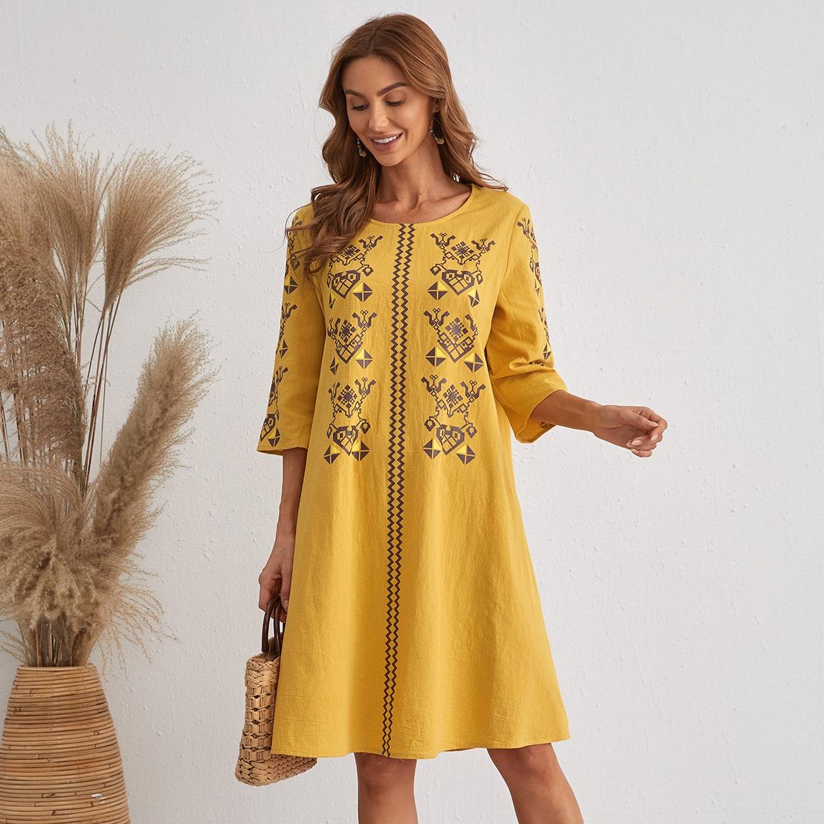 Tunika Kleid mit Geometrie Muster