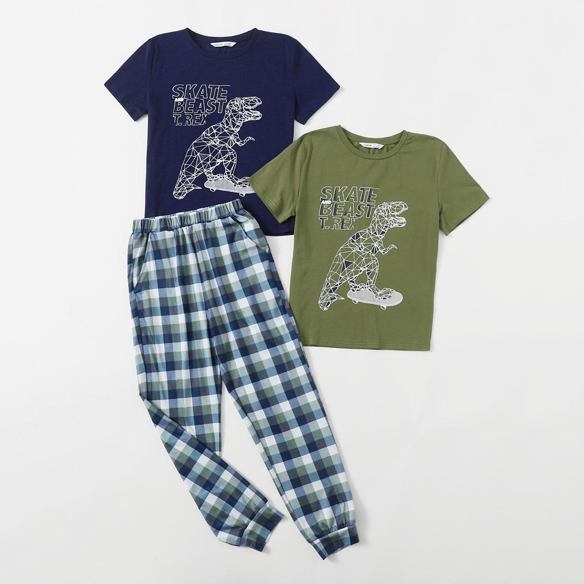 Комплект пижамы 2 топ с принтом динозавра и 1 брюки в клетку для мальчиков