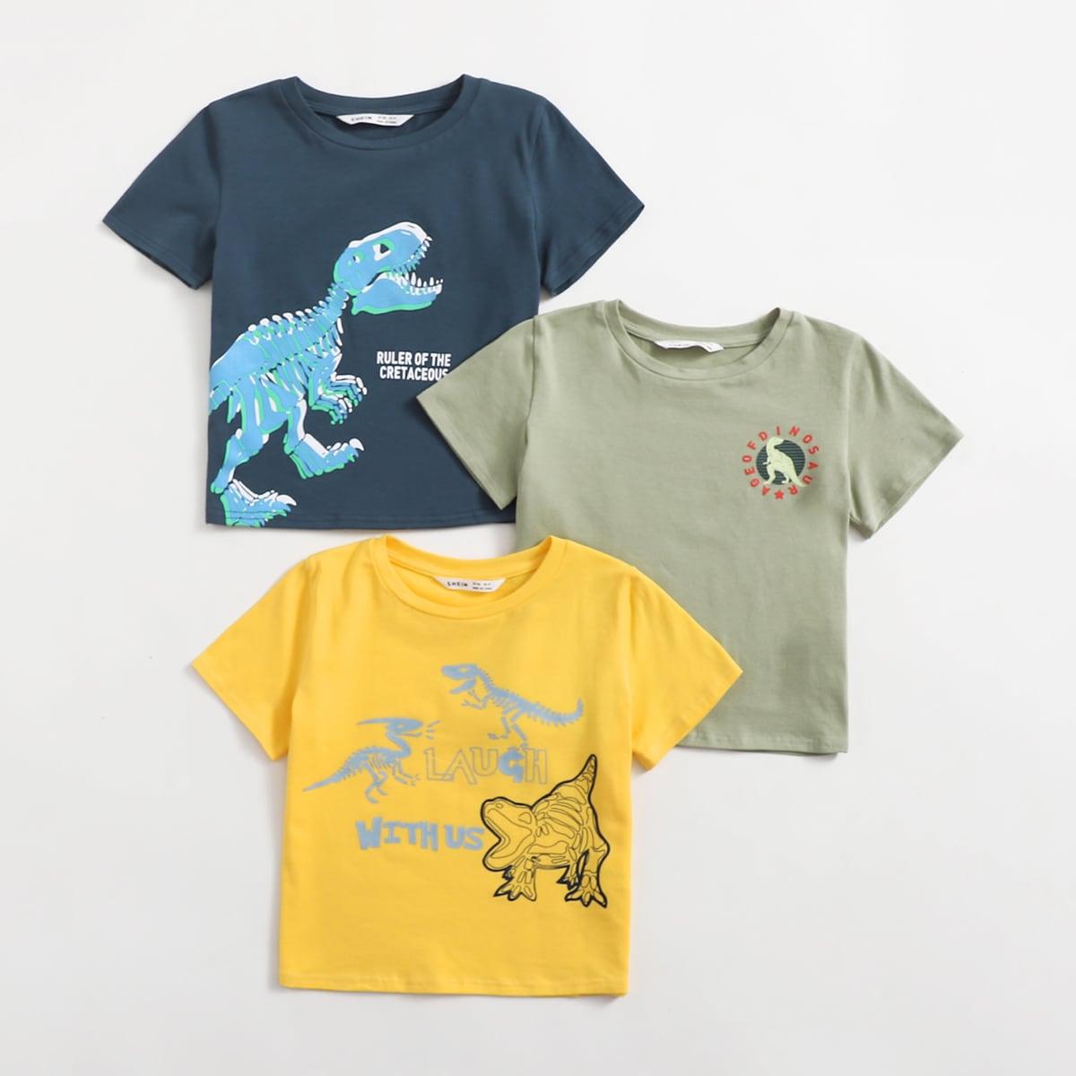 Пижамный топ с принтом динозавра для мальчиков 3шт
