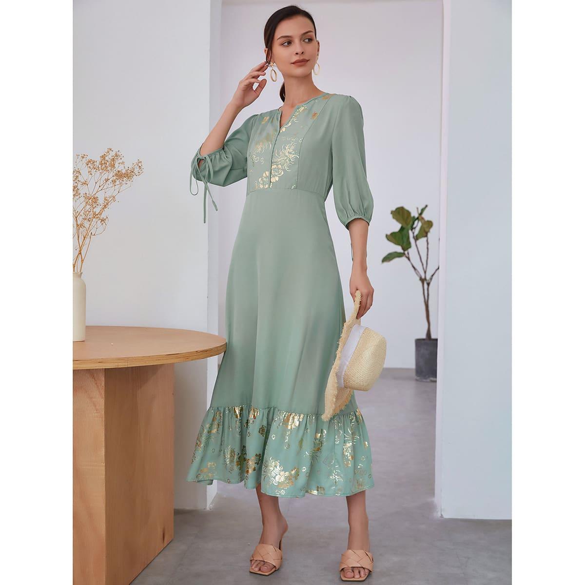 узел Цветочный принт Элегантный Платье по цене 1 480