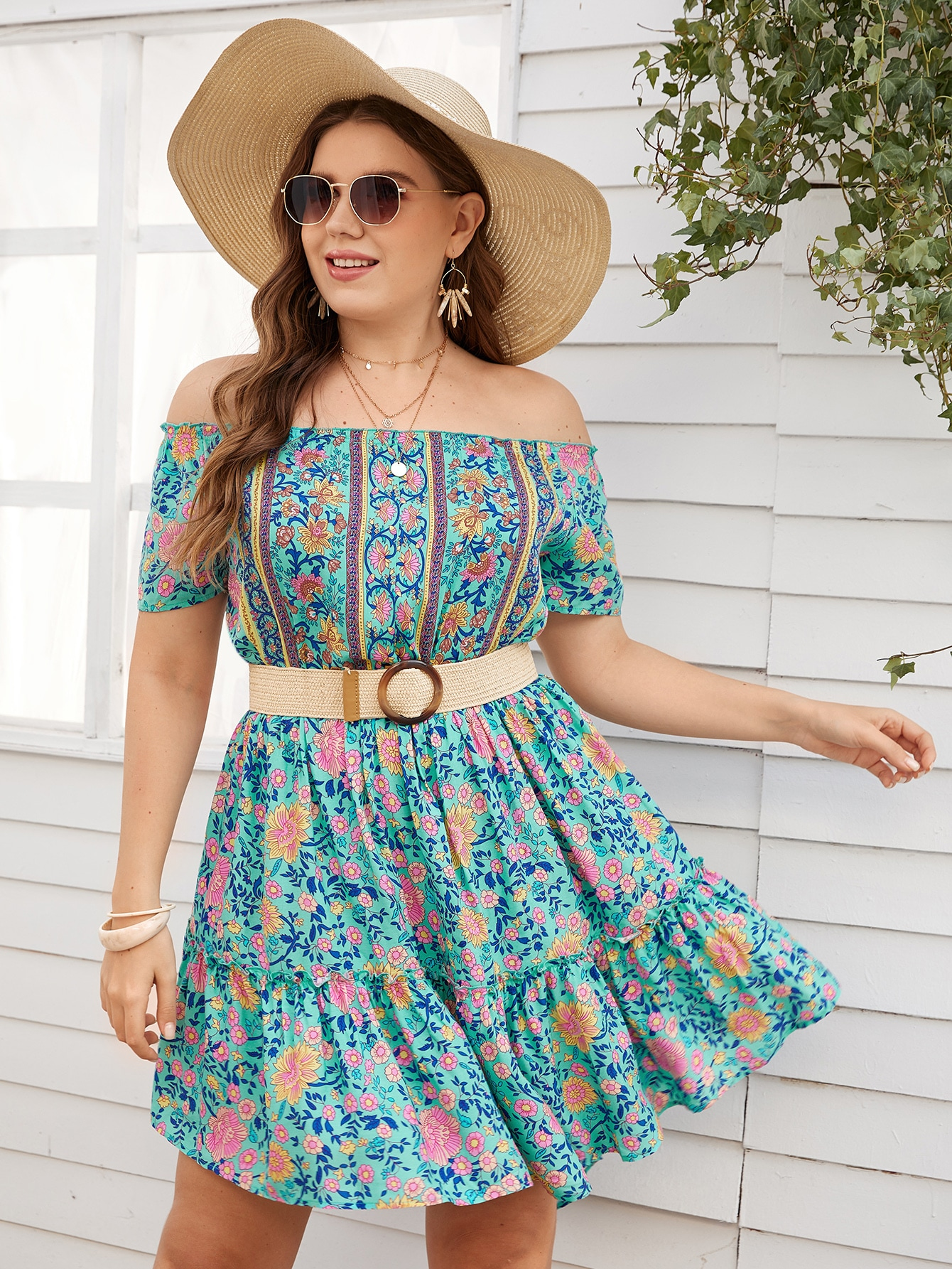 Plus Floral Print Off The Shoulder Ruffle Hem Dress Without Belt