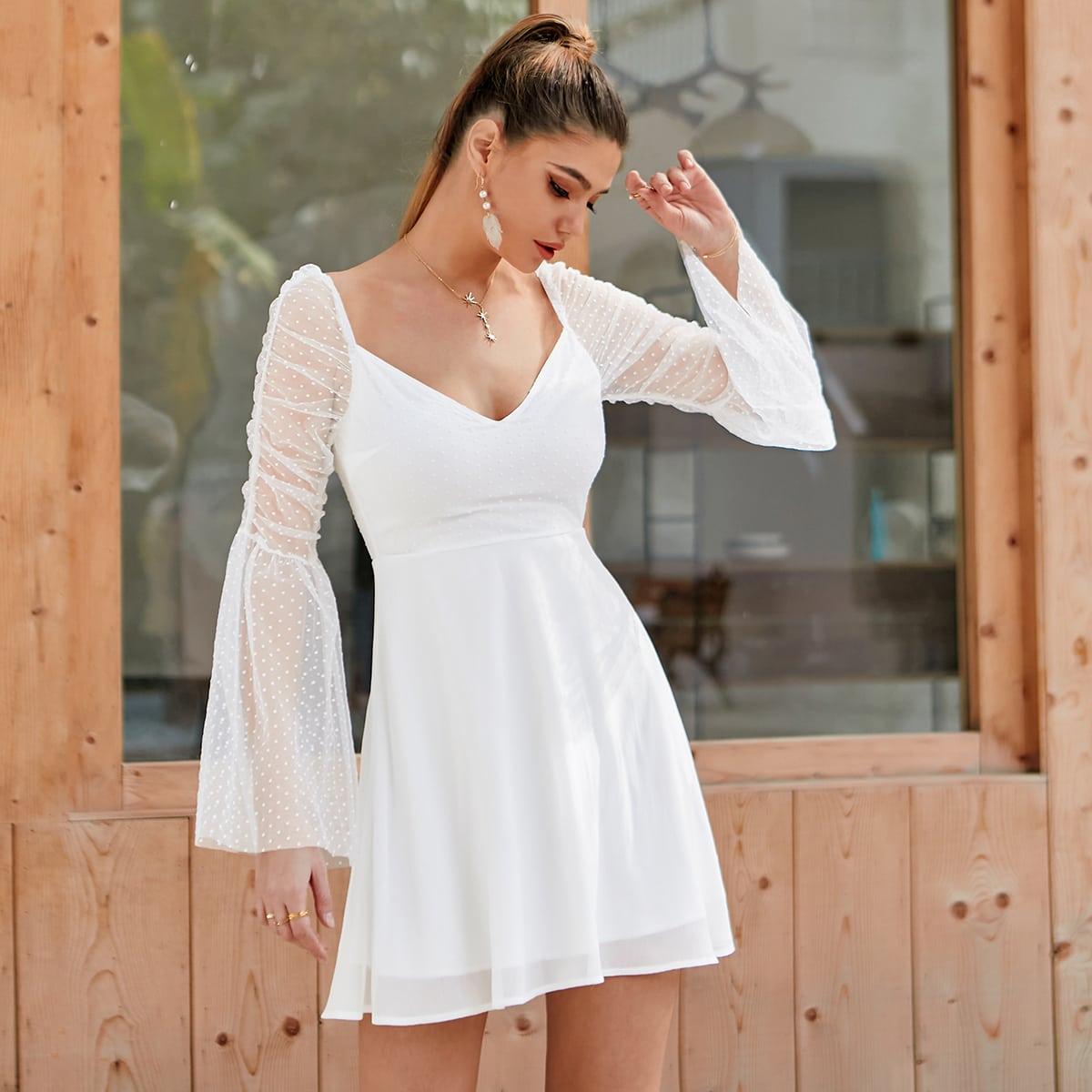 Платье с прозрачным рукавом SheIn swdress42210203352