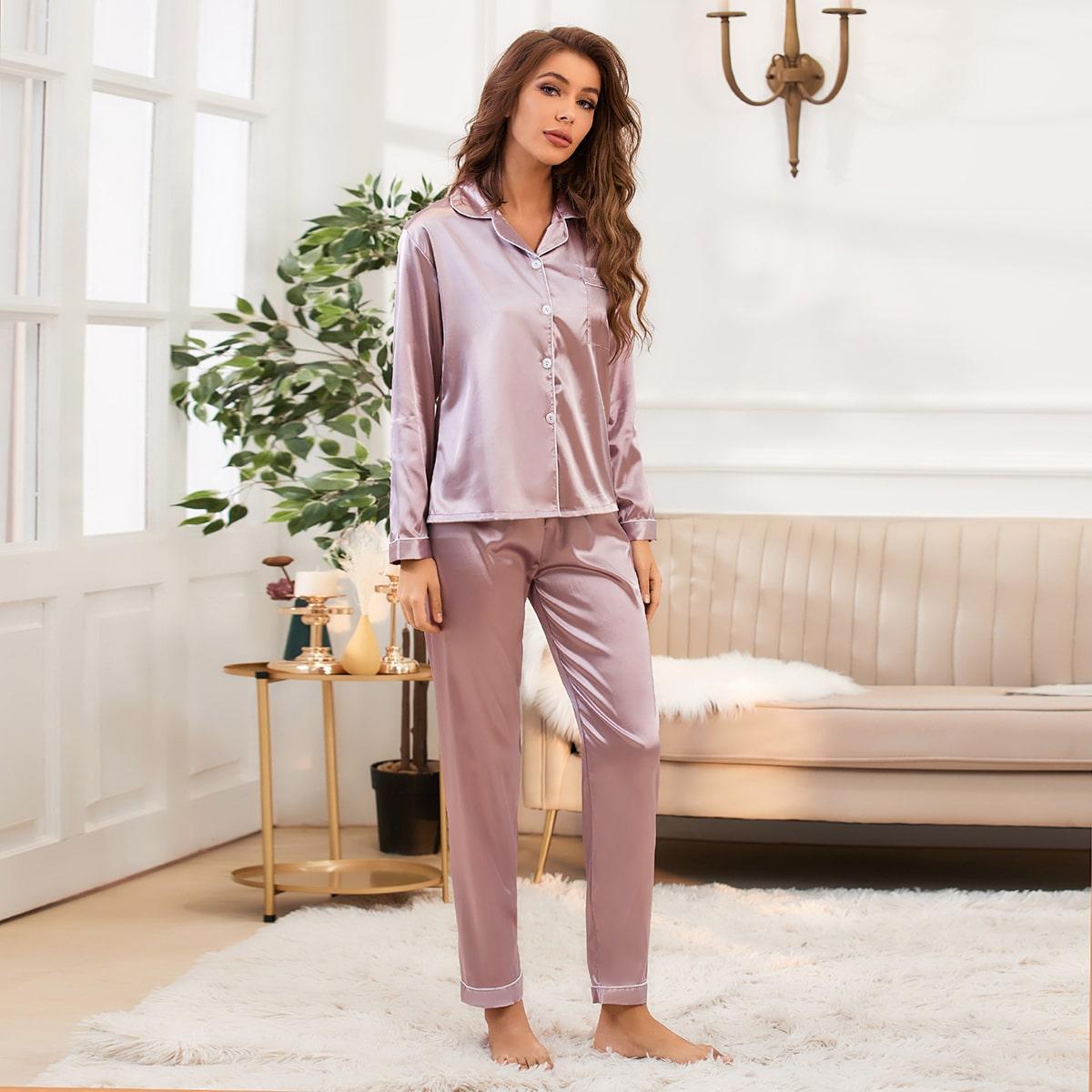 с карманами Одноцветный Элегантный Комплект пижамы
