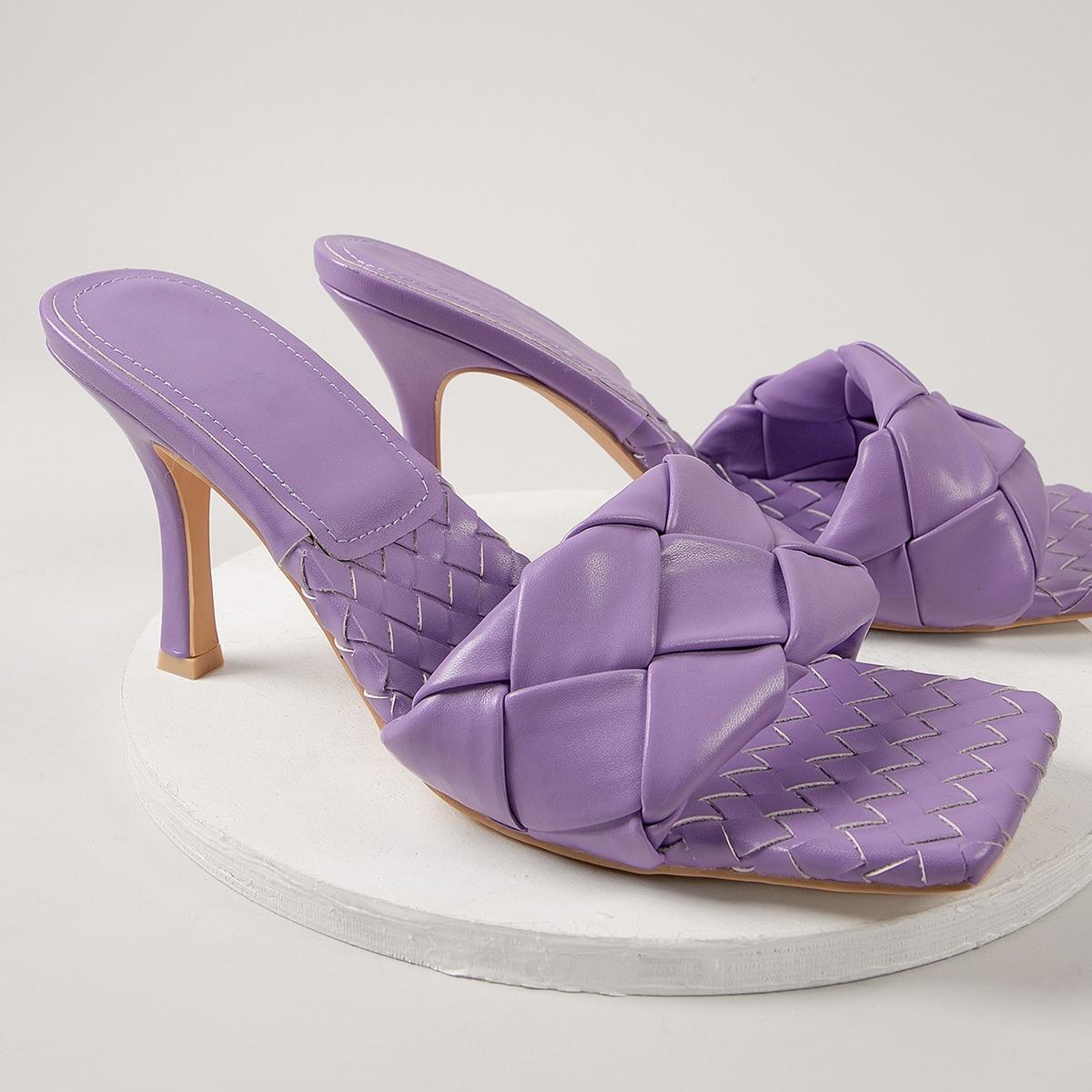 Плетеные туфли на каблуках из искусственной кожи
