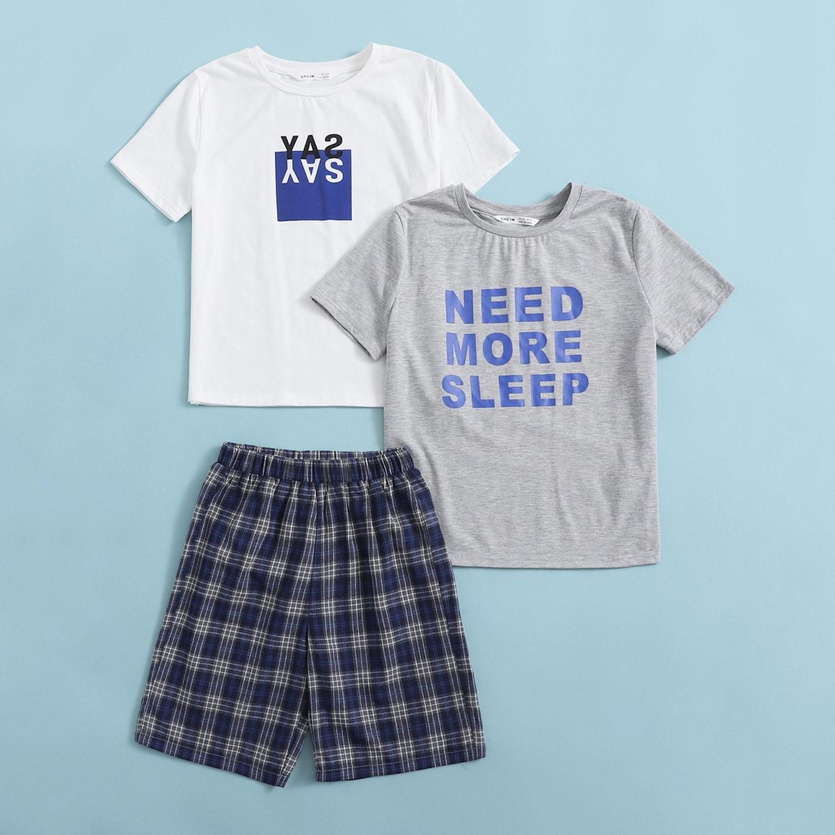 3шт пижама в клетку с текстовым принтом для мальчиков