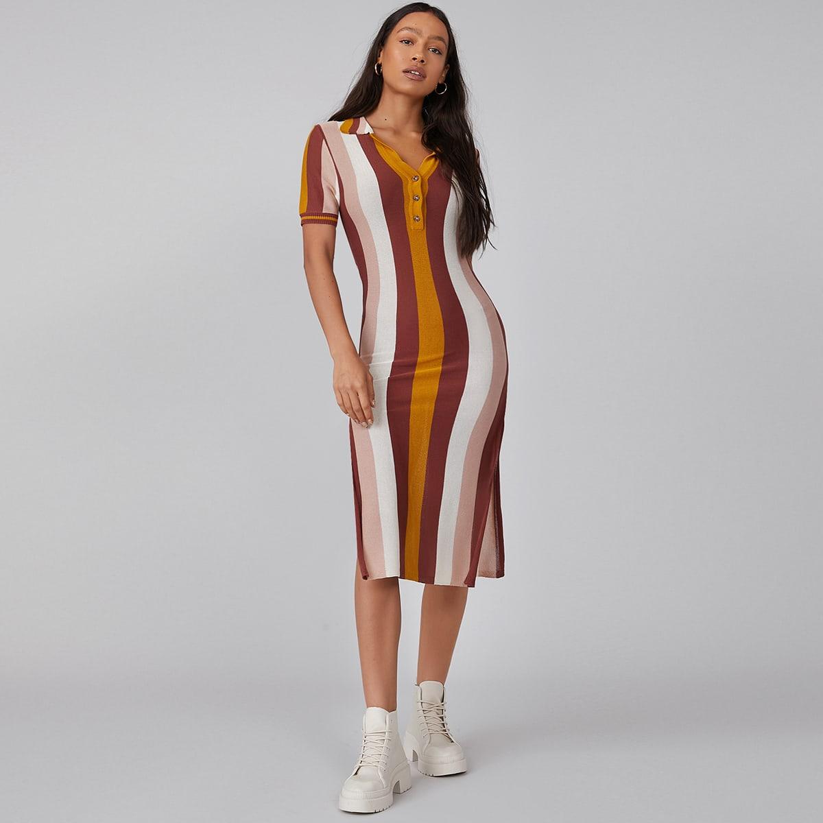 Платье-свитер в полоску из вискозы