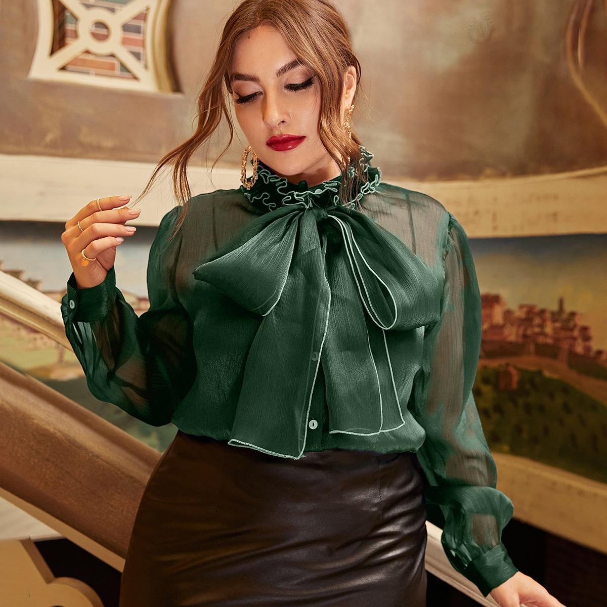 Прозрачный Очаровательный Блузы размер плюс