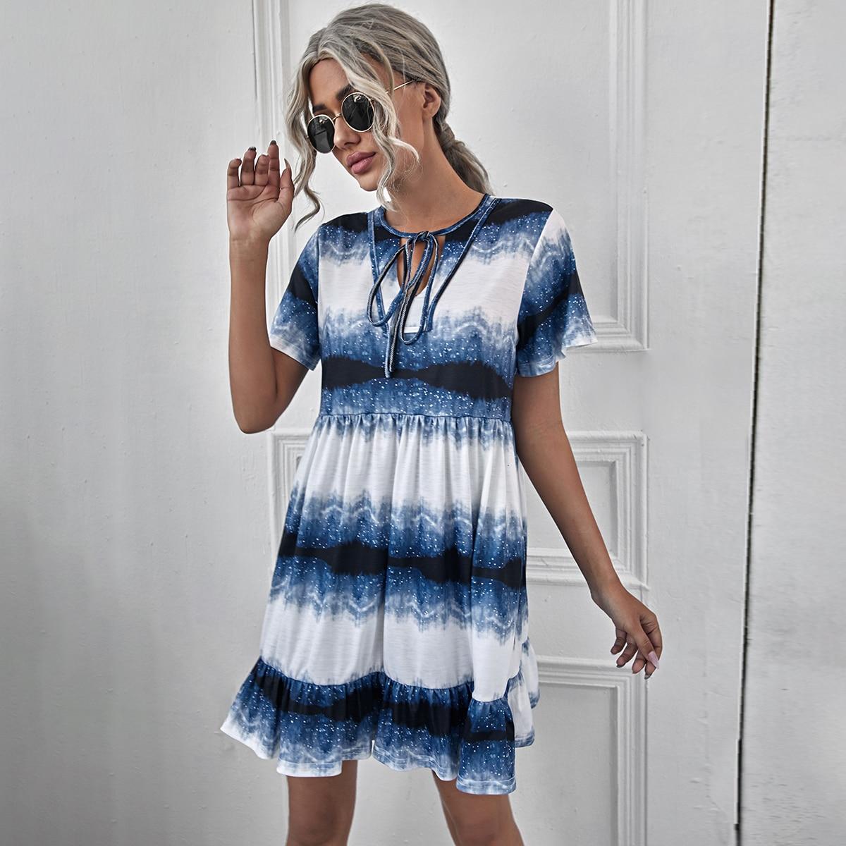 С оборками Контрастный цвет Повседневный Платье