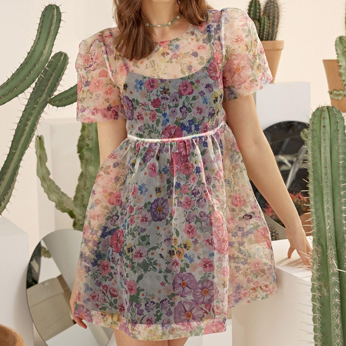 Платье с пышным рукавом и цветочным принтом без подкладки