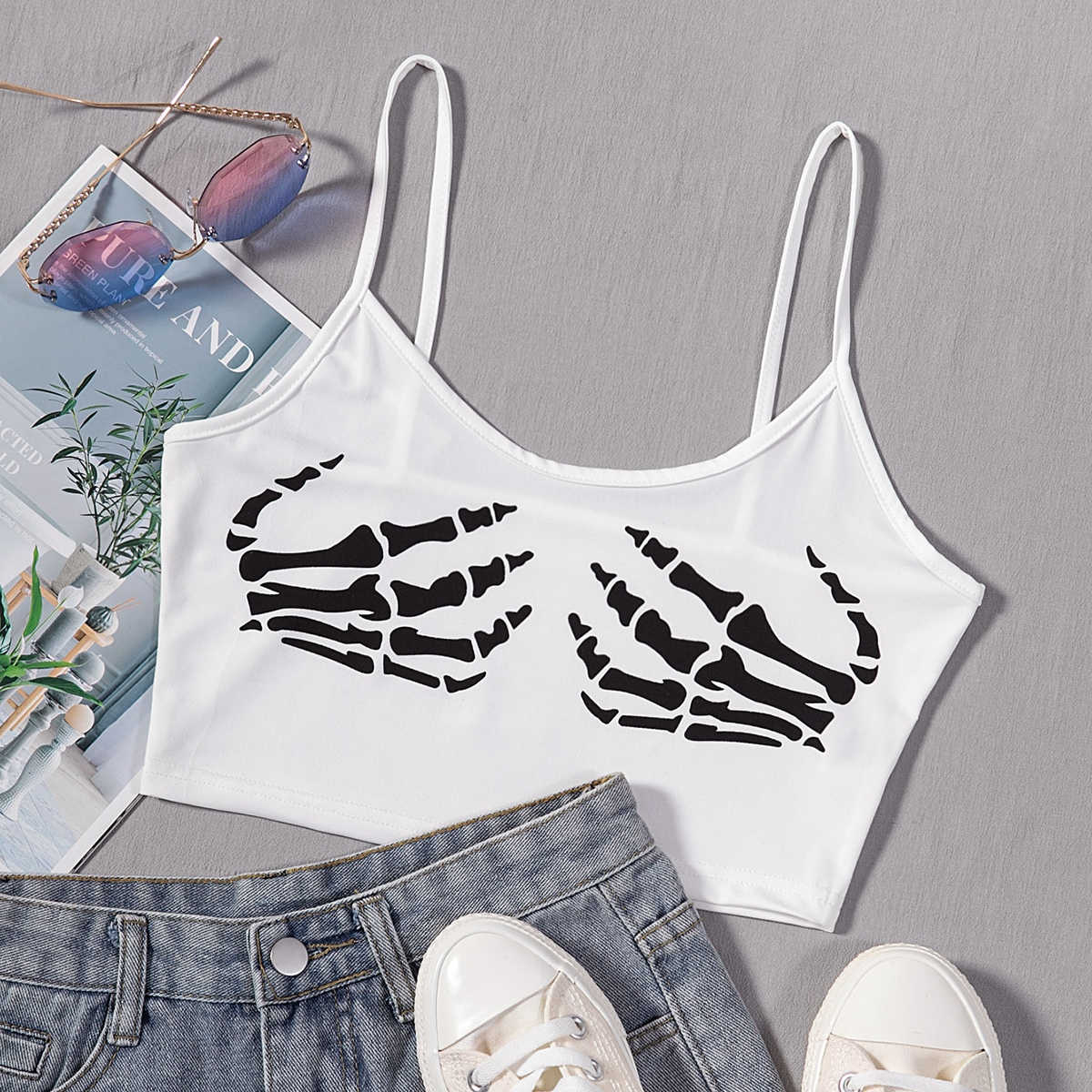 Skeleton Print Crop Cami Top, SHEIN  - buy with discount
