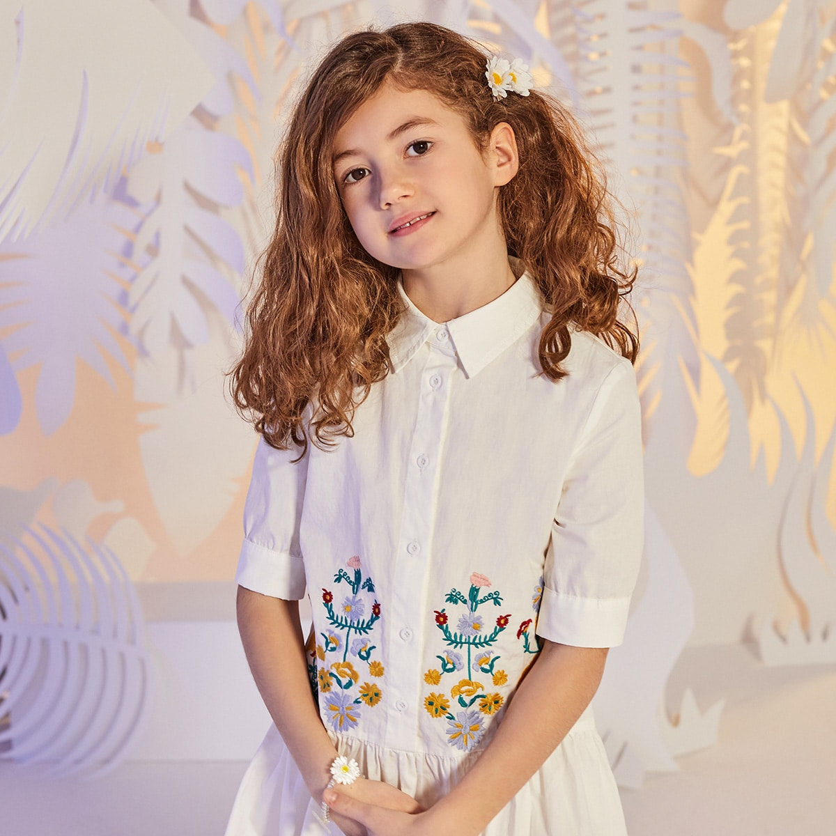 Girls Single Breasted Floral Embroidered Ruffle Hem Dress