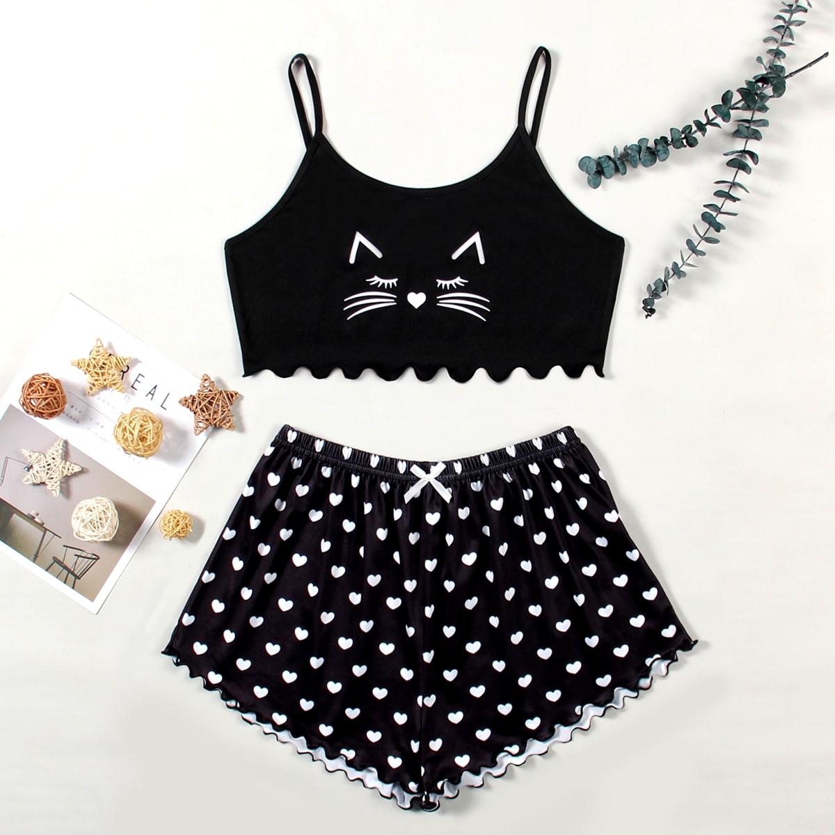 SHEIN / Cartoon And Heart Print Lettuce Trim Cami Pajama Set