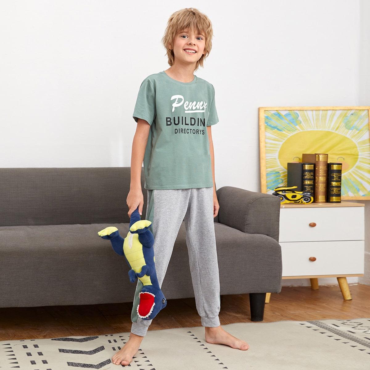 Боковая полоса буква Повседневный Домашняя одежда для мальчиков