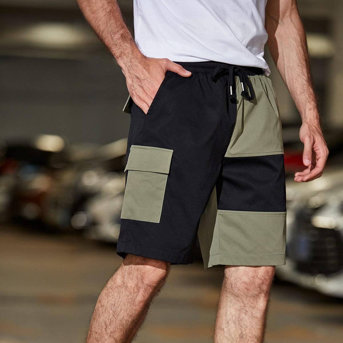 Men Colorblock Drawstring Waist Shorts